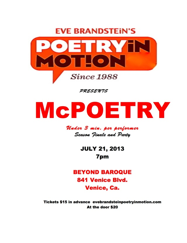 Eve Brandstein's Poetry in Motion since 1988 presents McPoetry